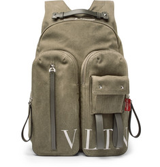 Valentino VLTN Leather-Trimmed Canvas Backpack