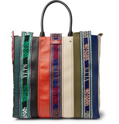 Valentino Patchwork Leather, Canvas and Logo-Jacquard Tote Bag