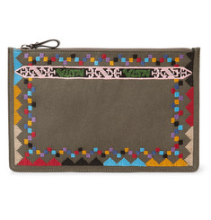 Valentino Embroidered Canvas Pouch