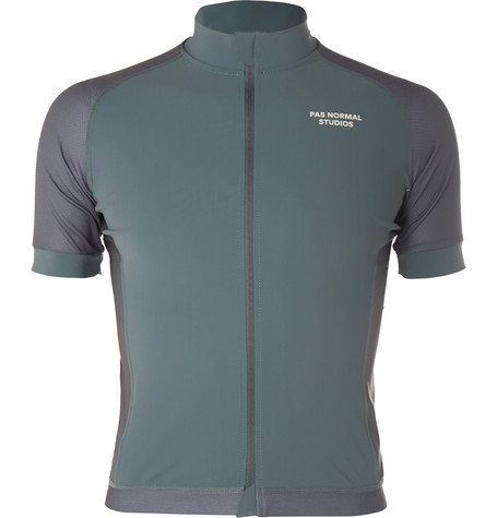 PAS NORMAL STUDIOS Essential Perforated Zip-Up Cycling Jersey - Gray Green