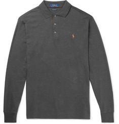 Polo Ralph Lauren Slim-Fit Suede-Trimmed Mélange Cotton-Jersey Polo Shirt