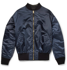 Balenciaga Satin and Denim Bomber Jacket