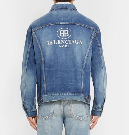 Logo Embroidered Denim Jacket by Balenciaga