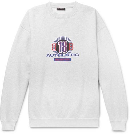 Logo Print Cotton Blend Jersey Sweatshirt by Balenciaga