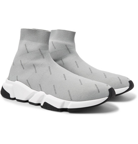 6e3fc4b88ca4 Balenciaga Speed Sock Logo-Print Stretch-Knit Sneakers - Light Gray In 1224  Grey