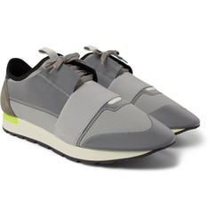 Balenciaga - Race Runner Neoprene, Leather and Suede Sneakers