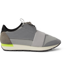 Balenciaga Race Runner Suede, Neoprene and Leather Sneakers