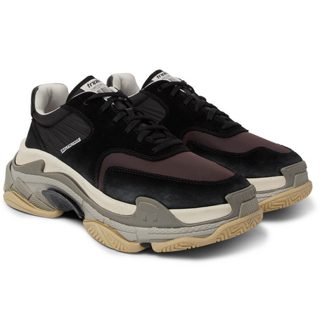 Triple S Nylon, Mesh, Suede And Leather Sneakers by Balenciaga