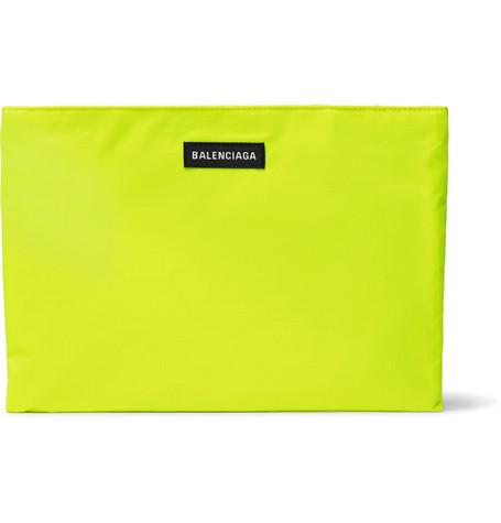 BALENCIAGA Explorer Neon Ripstop Pouch, Yellow