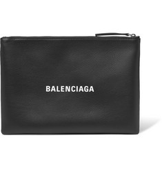 Balenciaga Logo-Print Textured-Leather Pouch