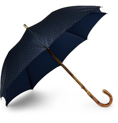 Francesco Maglia Lord Chestnut Wood-Handle Polka-Dot Twill Umbrella