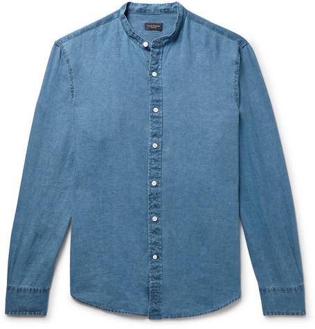 Grandad Collar Linen Chambray Shirt by Club Monaco