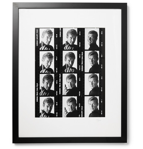 """SONIC EDITIONS FRAMED ROGER MOORE CONTACT SHEET PRINT, 17"""" X 21"""""""