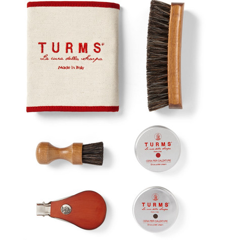 TURMS Beauty Shoe Care Kit With Leather Case in Tan
