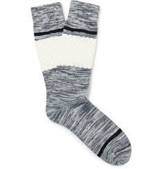 N/A Textured Space-Dyed Stretch Cotton-Blend Socks