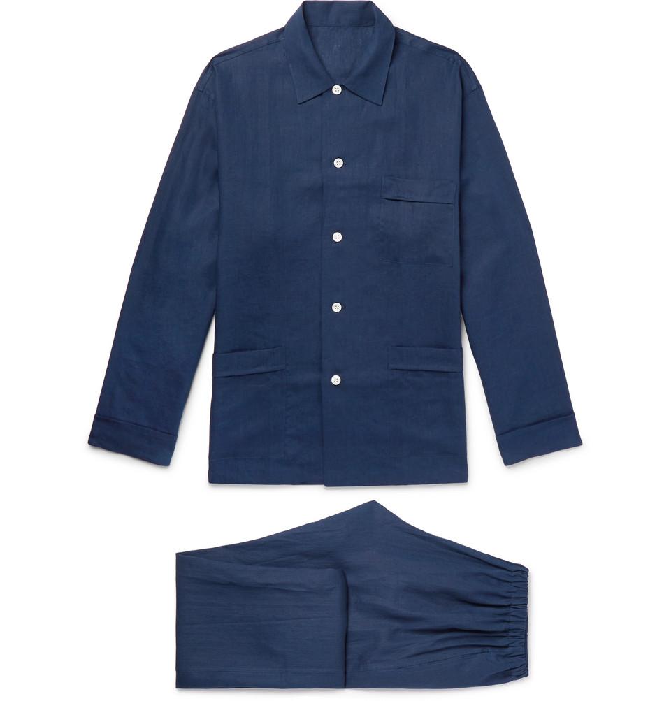 Linen Pyjama Set - Navy
