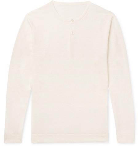 Linen Henley T-shirt - Cream