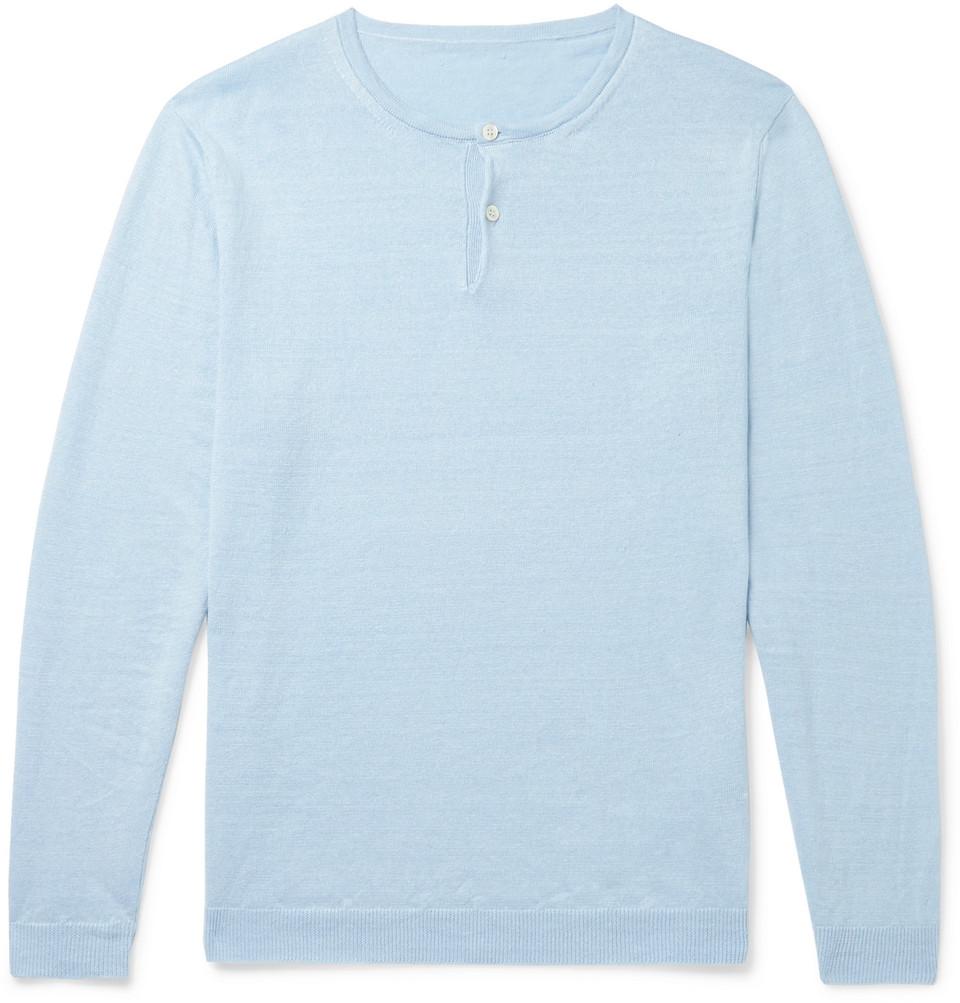 Linen Henley T-shirt - Blue