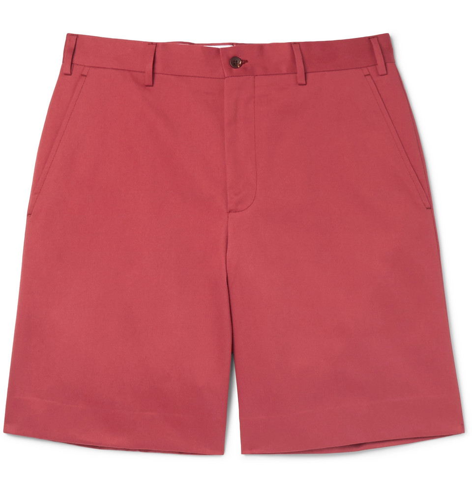 Cotton-twill Shorts - Brick