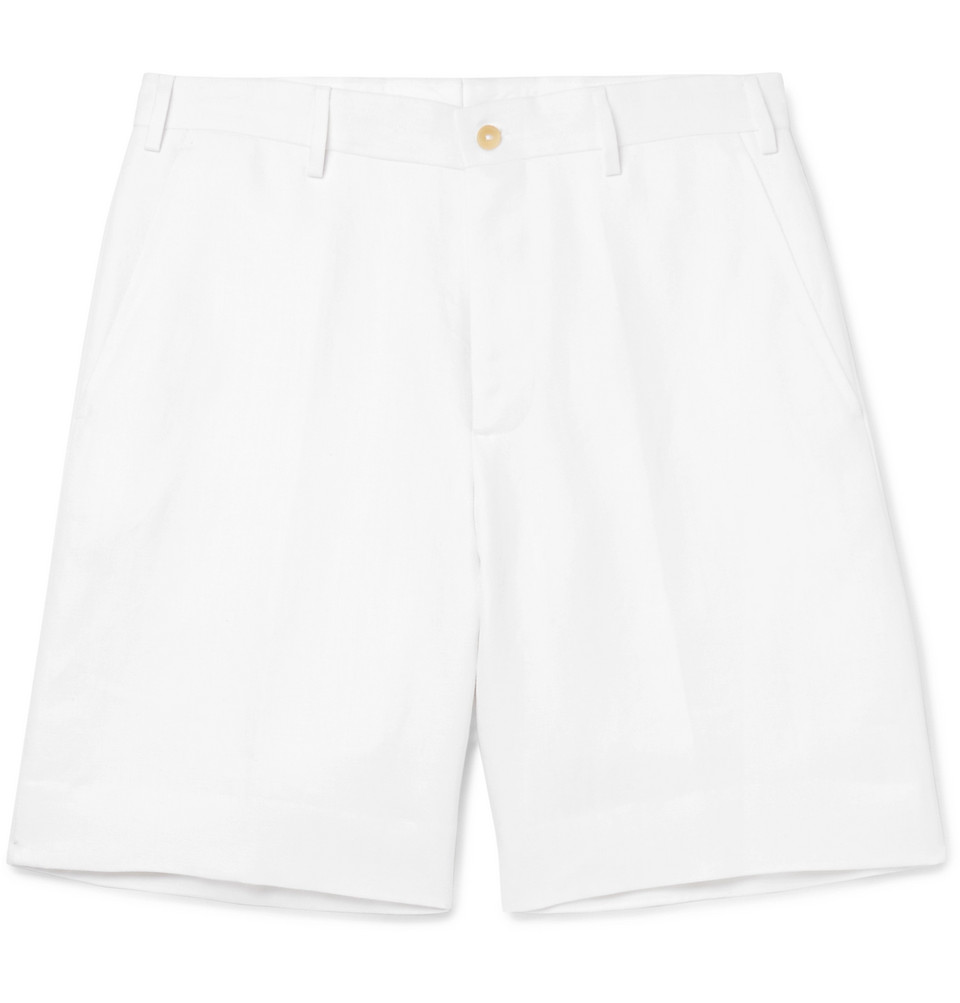 Herringbone Linen Shorts - White