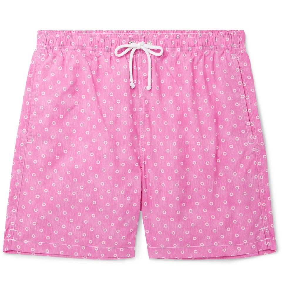 Slim-fit Mid-length Floral-print Swim Shorts - Pink