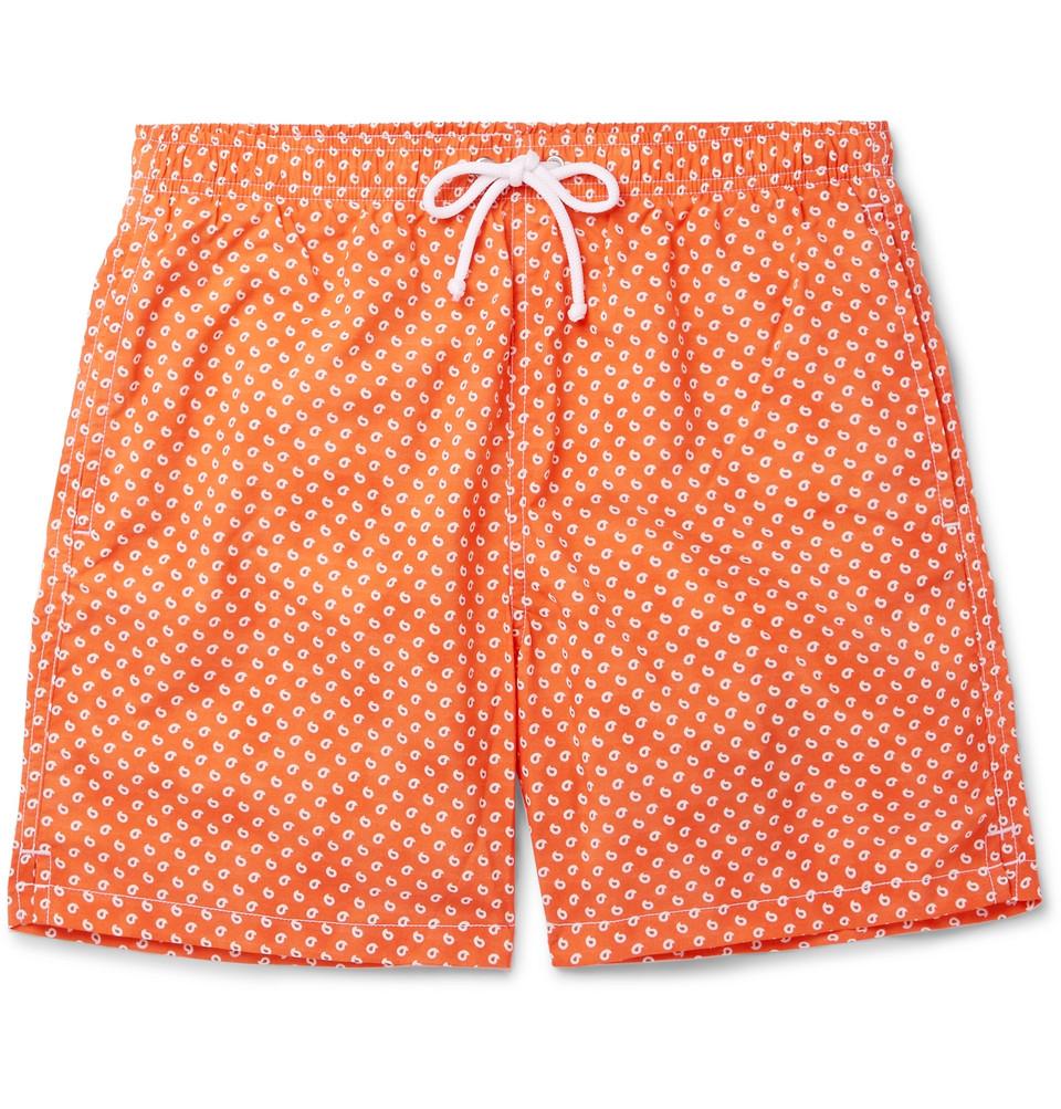 Slim-fit Mid-length Paisley-print Swim Shorts - Orange