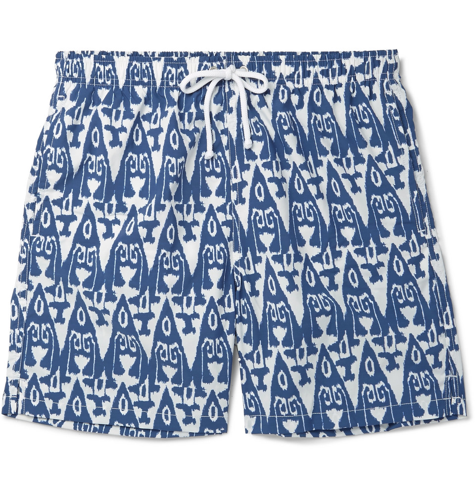 Slim-fit Mid-length Printed Swim Shorts - Blue