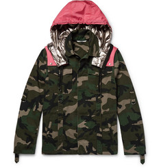 Valentino Camouflage-Print Cotton-Twill Field Jacket with Detachable Shell Hood