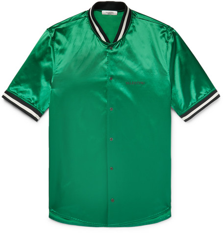 Valentino Stripe-trimmed Satin Shirt In Emerald