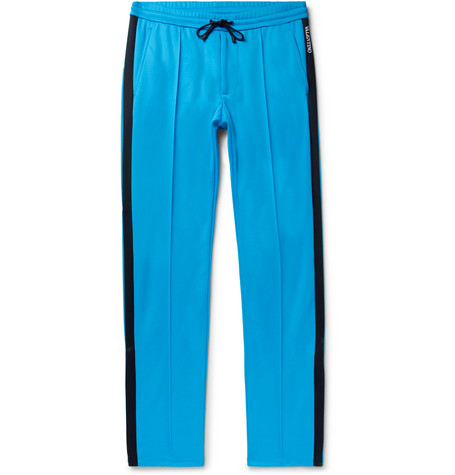 Valentino Stripe-trimmed Jersey Trousers In Azure