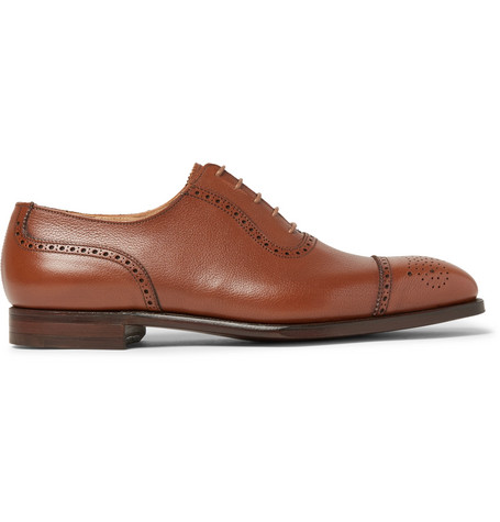 GEORGE CLEVERLEY Adam Full-Grain Leather Oxford Brogues in Tan