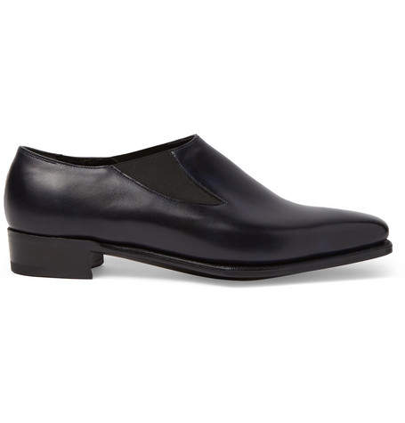 GEORGE CLEVERLEY Anthony Cleverley Burnished-Leather Loafers in Navy