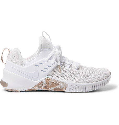 new style eb2a6 a494f Nike Metcon Free Mesh And Neoprene Sneakers In White