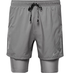 Nike Running Flex Distance 2-in-1 Mesh-Panelled Dri-FIT Shorts