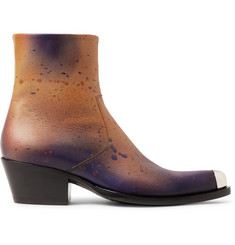 CALVIN KLEIN 205W39NYC Metal-Tipped Paint-Splattered Burnished-Leather Boots