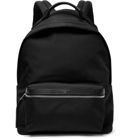 Sandro Leather-Trimmed Nylon Backpack In Black