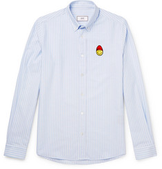 AMI + The Smiley Company Button-Down Collar Appliquéd Striped Cotton Oxford Shirt