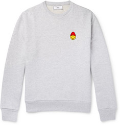 AMI + The Smiley Company Appliquéd Loopback Cotton-Jersey Sweatshirt
