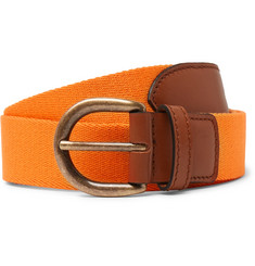 Anderson & Sheppard 3cm Orange Webbing and Leather Belt