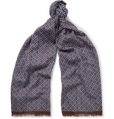 Anderson & Sheppard Fringed Printed Cotton-Voile Scarf
