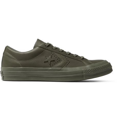 Converse + Engineered Garments One Star Leather Sneakers In Army Green
