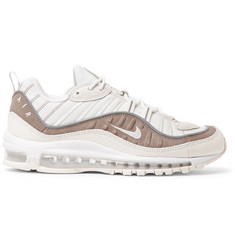 Air Max 98 Se Mesh, Snake-effect Leather And Suede Sneakers - WhiteNike