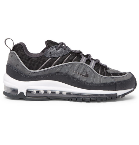newest collection ac905 0198d Nike Air Max 98 Se Mesh, Leather And Suede Sneakers In Black