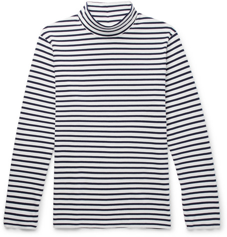 Striped Cotton Jersey Rollneck T Shirt by Mr P.