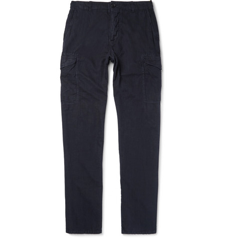 Slim-fit Garment-dyed Linen And Cotton-blend Cargo Trousers James Perse