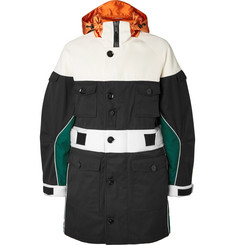 Valentino Colour-Block Satin and Neoprene-Trimmed Gabardine Hooded Coat
