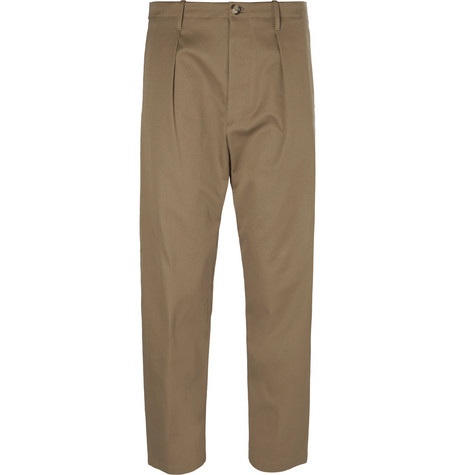 Pleated-Front Gabardine Chino Trousers, Beige