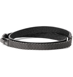 Miansai Moore Leather Rhodium-Plated Wrap Bracelet