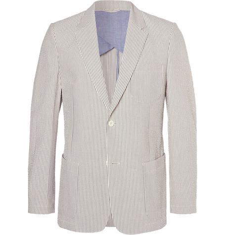 MR P. Blue Striped Cotton-Seersucker Blazer