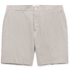 Mr P. Blue Striped Cotton-Seersucker Shorts